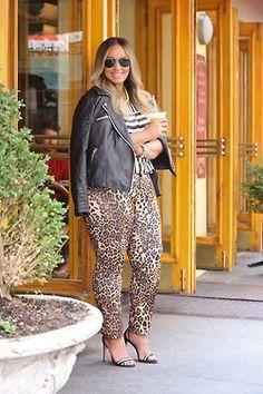 Plus Size Leopard Pants and Moto Jacket