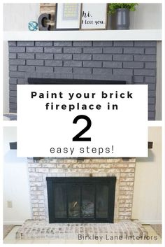 Paint Your Brick Fireplace in 2 Easy Steps! is part of diy-home-decor - Hate your ugly brick fireplace Give it a quick and easy makeover, DIY style! Use my twostep hack to paint your brick fireplace and LOVE how it looks! Painted Brick Fireplaces, Grey Fireplace, Fireplace Update, Paint Fireplace, Brick Fireplace Makeover, Home Fireplace, Brick Fireplace Remodel, Stone Fireplaces, Farmhouse Fireplace