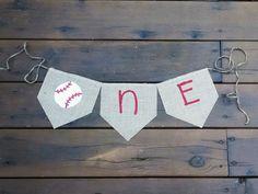 ONE Year Old Baseball Themed Baby Birthday Celebration Banner- Boy Banner-Photo Prop on Etsy, $18.00