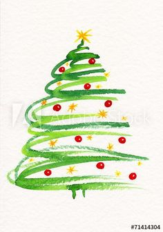 Watercolor painting christmas tree with baubles and stars decoration. - Merry Christmas,Watercolor painting christmas tree with baubles and stars decoration. Watercolor painting christmas tree with baubles and stars decoratio. Painted Christmas Cards, Diy Christmas Cards, Noel Christmas, Xmas Cards, Christmas Photos, Christmas Crafts, Christmas Greetings, Easter Crafts, Watercolor Christmas Tree