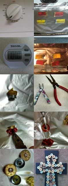 How to melt shotgun shells for crafting: Preheat oven to 400 Lay out shotgun shells on baking sheet covered in foil (I did 4 at a time so they wouldn't cool before I got to them). Bake for 10 min.  Remove from oven( the plastic part will have shriveled up) Using two sets of pliers push down on the plastic to start removing it from the metal. Hold on to the metal part with one of the pliers and pull on the plastic with the other set.(it should pull right out) Let them cool.  Happy crafting!!