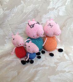 Crochet Family: Daddy Pig,Mummy Pig, Peppa & George