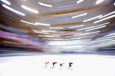 An impressionistic view of the Women's 1000m practice on day two of the Samsung ISU Short Track Speed Skating World Cup at the Palatazzoli  ...