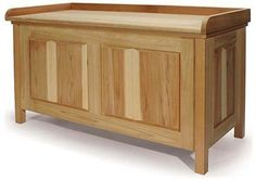 """Plans to DIY a nice storage chest that will work great for LARPing/camping and it even has a flat table top with side and rear lip to stop items falling off. This would make an excellent """"dry sink"""" for camping, plus it is cartage and storage for garb, EQ, armour or whatever. - Shaker Style Cedar Storage Bench"""