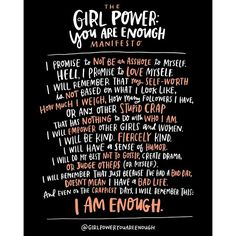 This is really near and dear to my heart. @girlpoweryouareenough is a movement to empower teen girls and young women to go be their awesome selves in a world that sometimes makes it hard to feel awesome. It was started -- and this manifesto was written -- by my good friend @jenpastiloff (whose fabulous writing is also on one of our cards