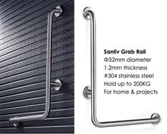 Stainless Vertical Angle L Shaped Shower Grab Rail