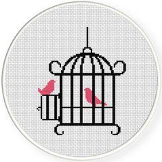 Bird Cage Cross Stitch Pattern