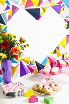 Heart Styled Dessert Table Geometric Modern Backdrop Altar DIY