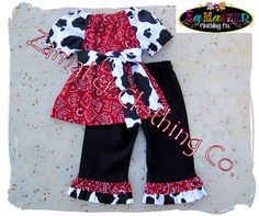 COW AND BANDANA TOP & PANT SET.   Girl Cow Outfit Set  Girl Farm Birthday by ZamakerrClothingCo, 42.99