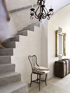 ✣ French Country Farmhouse ✣ Pickering Hill:  Gilt frame and bannerless staircase.  Cote Sud magazine