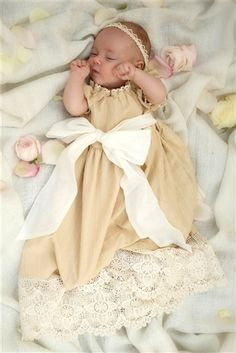 """Baby by Persnickety Clothing Apple Blossom Vintage Gown Cream She had me at """"hello."""""""