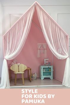 Reading Nook Tent, Girls Tent, Canvas Teepee, Bed Tent, Canopy, Montessori Bed, Hanging Tent, House Beds, Pink Bedding