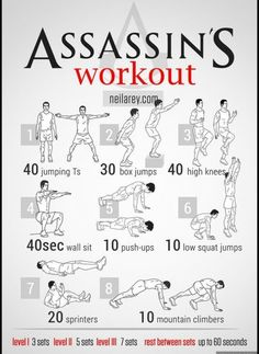 Workout for Assassin, Batman, Spiderman, Avenger, Wolverine... Workout for Assassin, Batman, Spiderman, Avenger, Wolverine... Click to see...