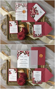 Burgundy Floral Elegant wedding invitations #romantic #elegant #burgundy #deepred #wedding #weddingideas #elegance