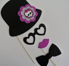 Monster High Inspired Photo Booth Party Props Birthdays Monster Highschool theme decorations mustache on a stick mustache bash Photo Booth