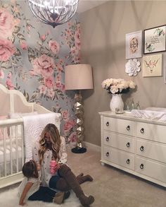 Like the walpapered floral accent wall for a spare bedroom or sophies room
