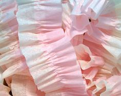 36 Feet Baby Pink and Ivory Ruffled Crepe Paper Streamers - Party Decoration - Craft and Party Supplies