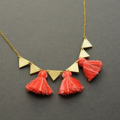 Handmade gold leather and coral tassels necklace / N26 by BenuShop, £15.00