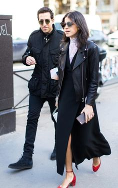 Leandra Medine in leather jacket