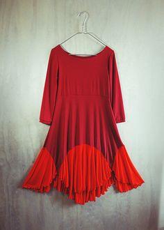 Red Poppy abito in jersey tinto a mano di katastrophicdesign, $178.00