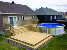 Stock Tank Pools to be an Oasis on Your Backyard. When you go searching for … Stock Tank Pools to be an Oasis. Wood Patio, Concrete Patio, Backyard Patio, Patio Decks, Decking, Patio Bench, Patio Seating, Small Backyard Decks, Patio Stairs