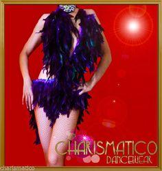 Charismatico PURPLE Feather Samba Burlesque SALSA LATIN Dance Dress #Charismatico