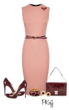 """Victoria Beckham Dress"" by pkoff ❤ liked on Polyvore featuring Victoria Beckham, Prada, Kate Spade and Oscar de la Renta"