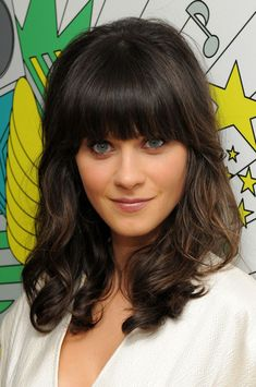 "Actressand musician Zooey Deschanel poses backstage during MTV's ""TRL"" on June 10, 2008 at MTV Studios in New York City."