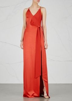 Red satin and crepe gown
