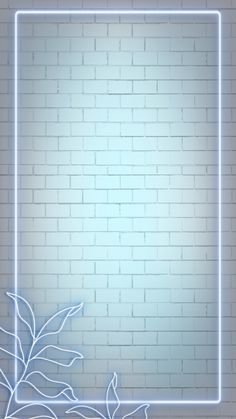 Download premium psd / image of Neon lights rectangle frame with leaves on brick wall mobile phone wallpaper illustration by Nunny about light, background, neon border frame, neon border, and white brick wall 2037403