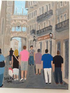 Pont del carrer del Bisbe ( Barcelona ) , pintura al oli sobre tela