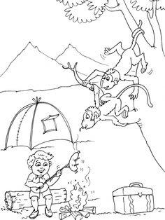 Kleurplaat thema camping 3, kamperen, kleuteridee.nl