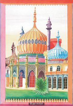 Brighton pavilion illustration - Jan Mnich: The Royal Pavilion in Brighton is a former royal residence. It is often referred to as the Brighton Pavilion and was built by the British in the Indo-Saracenic style prevalent in India for most of the 19th century