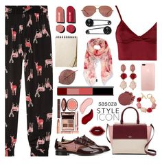 """outfit of the day by Sasoza"" by sasooza ❤ liked on Polyvore featuring Tucker, Chloe Gosselin, Lipsy, Chanel, Kate Spade, Linda Farrow, Oscar de la Renta, Furla, NYX and Kat Von D"