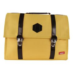 Bakker made with love Medium Leather and Cordura Satchel with Strap Yellow