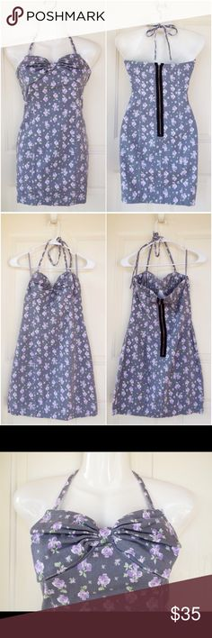 🆕 Anthropologie Halter Bow Floral Dress NWOT! New without tags! Gorgeous gray dress with lilac floral print and a cute bow at the bust. A halter tie holds the dress up at the back of the neck. Thick flexible cotton material with a brass exposed zipper in the back. Akualani brand from Anthropologie. No swaps/trades. Anthropologie Dresses