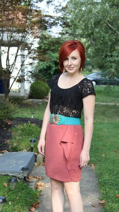 Thrift and Shout blog, Apricot Lane belt, The Limited lace top, H skirt, both thrifted