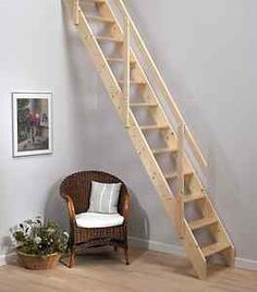 Loft stairs with hand rail