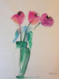 Aquarell Blumen Blumen in der Vase moderne