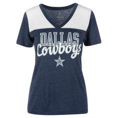 Dallas Cowboys Women's Heathered T-Shirt - Navy/White XS, Blue White