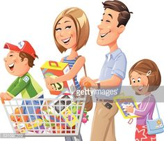Illustration of a young family going shopping isolated on white The Cartoon illustration Family cartoon Cartoon photo