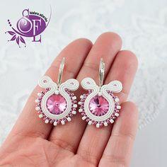 Littel earrings - soutache - white rose earrings - sweet by SzkatulkaEmi on Etsy