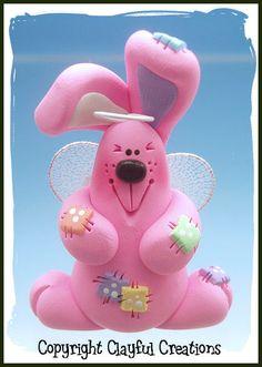 polymer clay angel   Becky's Polymer Clay Pink Chubby Bunny Angel   eBay