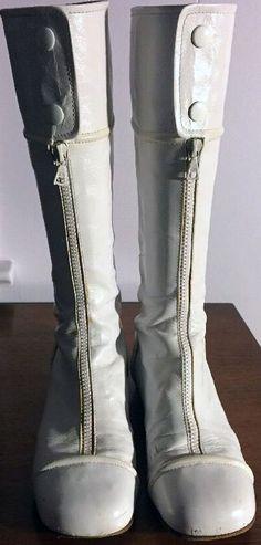 Courrèges - Bottes Zip et Boutons Pression - Cuir Blanc - Années 60