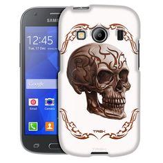 Samsung Galaxy Ace Style Orange Tattoo Skull on White Case