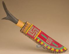 Native American Vintage Sioux Beaded Sheath & Knife (k25 ...