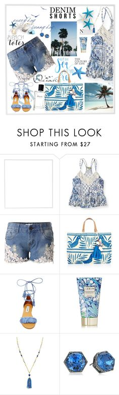 """""""Denim Shorts"""" by honkytonkdancer ❤ liked on Polyvore featuring Menu, Aéropostale, Chicwish, Star Mela, Steve Madden, AERIN, Stella & Dot, Kenneth Cole, blueandwhite and crochet"""