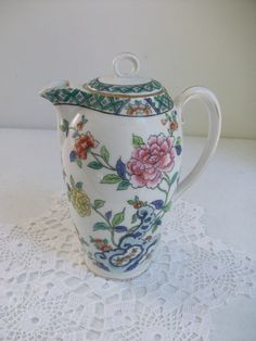 Floral Gold Colorful Tea Pot Tall Porcelain Coffee by AJewelsQuest, $18.95