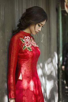 áo dài lụa đỏ đẹp 2017 cho cô dâu