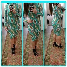 Long sleeve pattern turquoise midi dress knee leng New,  size small, with stretch  I'm a medium,  and these fit me as well Dresses Midi